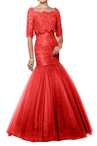 Abendkleider Meerjungfrau Charmant Spitze Glamour Grau Langarm Damen Rot Lang Abschlussballkleider Abiballkleider qqxU1pY