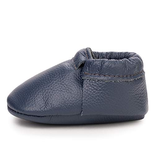 Fringeless Genuine Leather Baby Moccasins - Boys and Girls Shoes for Infants, Babies, Toddlers (Navy, US 9.5)