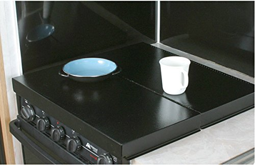 Camco-RV-Stove-Top-Cover-Universal-Fit-Convert-Your-Stove-Top-to-Extra-Counter-Space-In-Your-Camper-Or-RV-Black-43554