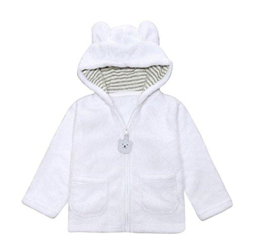 Omiky® Baby-Säuglingskind-Jungen-Mädchen-feste Karikatur-mit Kapuze Mantel-Umhang-Oberseiten-warme Kleidung Weiß