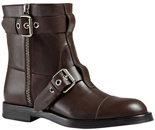 Gucci Men's Brown Leather Zip Up Biker Ankle Boots Shoes, Brown, 10.5 (Gucci Boots For Men)