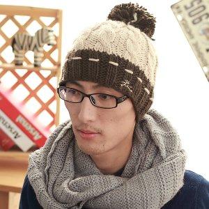 HAN th new men s wool hat winter warm wave ropes big wool hat ... 69893b17c10