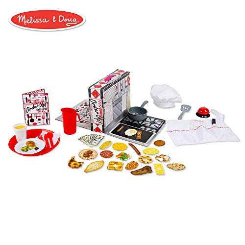 Melissa & Doug Order Up! Diner Play Set with Play Food - Be Cook, Server, or Customer