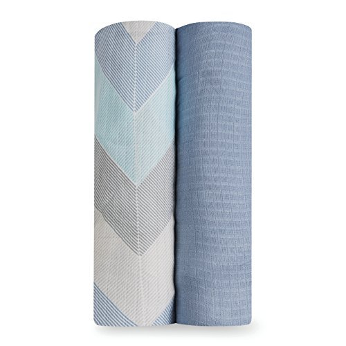 aden by aden + anais Silky Soft Swaddle Baby Blanket, 100% Viscose from Bamboo, Large 47 X 47 inch, 2-pack, ziggy blue