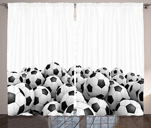 (Ambesonne Sports Decor Collection, Illustration of Soccer Ball Championship Tournament Stadium Exercise Picture Print, Living Room Bedroom Curtain 2 Panels Set, 108 X 84 Inches, Black and White)