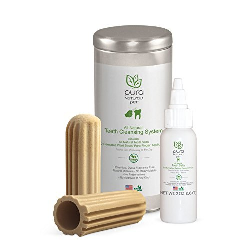 All Natural Pet Teeth Cleansing System with 2 Reusable Finger Gloves
