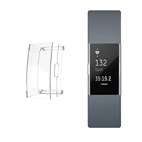 Ultra Slim Soft Full Cover Case for Fitbit Charge 2, Crystal,TPU Protective Casing Scratch Proof Transparent Frame Shell Accessories for Fitbit Charge 2 Watch (1PCS)
