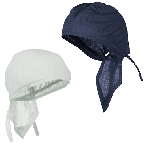 Track Bandana Cotton - Doo Rag Du Rag Do Cotton Solid Color Bandana Head Wrap Chemo Cap (White and Navy Blue)