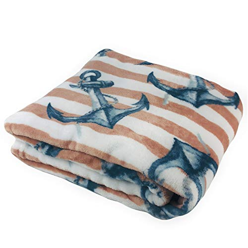 Coastal Soft and Cozy Plush Throw Blanket Nautical Anchors 50