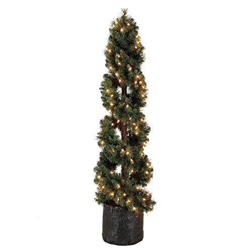 Home Heritage 5 Foot Spiral Design Artificial Topiary Pine Tree w/Clear Lights (Lights Topiary Tree With)