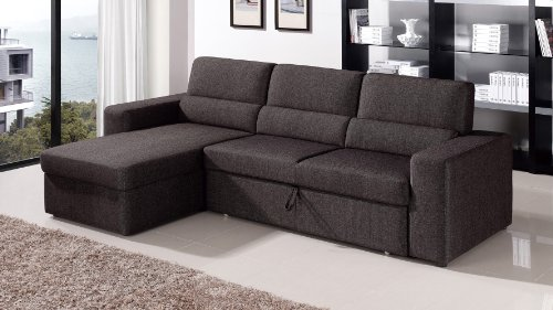 Black/Brown Clubber Sleeper Sectional Sofa - Left Chaise : bed sectional couch - Sectionals, Sofas & Couches