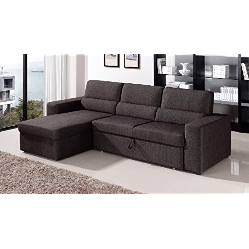 Black/Brown Clubber Sleeper Sectional Sofa   Left Chaise