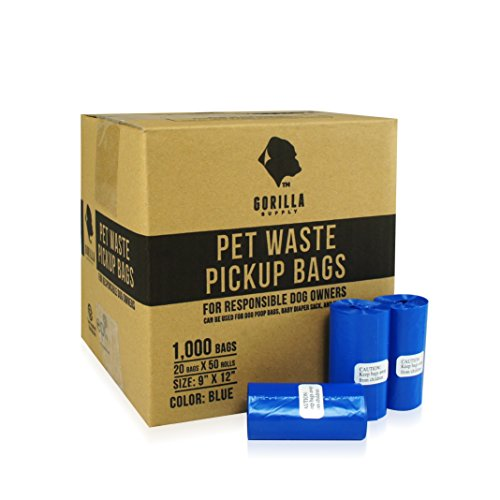 Gorilla Supply 1000 Blue Dog Pet Poop Bags, EPI Technology, 50 Refill Rolls (Pet Poop)