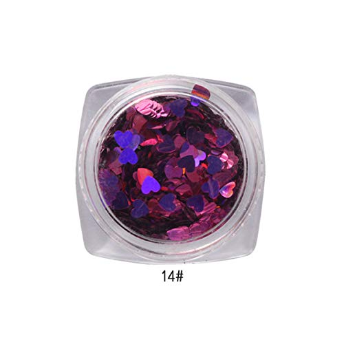 Thenxin Nail Glitter Flakes Heart Shape Sequins Paillette Chips Foil Nail Tips DIY Nail Art Design Decoration(N)