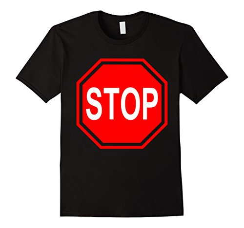 Stop Sign Costume (Mens stop sign last minute easy simple halloween costume t-shirt Large Black)