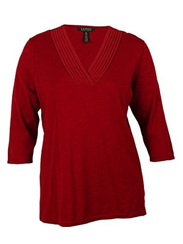 Ralph Lauren Women's V Neck Sweater Top (PXS, Heritage ()