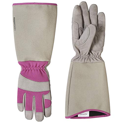 AmazonBasics Rose Pruning Thorn Proof Gardening Gloves with Forearm Protection – Purple, XS