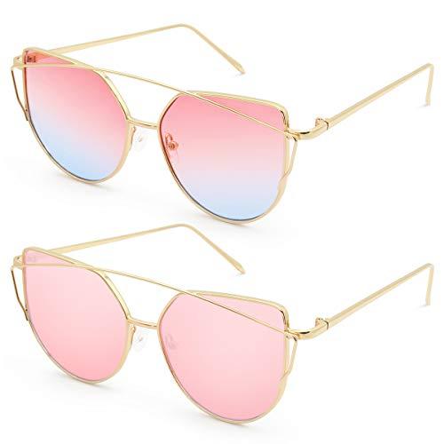 Lavender Womens Sunglasses - Livhò Sunglasses for Women, Cat Eye Transparent Flat Lenses Metal Frame Sunglasses UV400 (Gold Pink + Gold Pink Lavender)