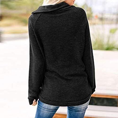 Dames Fermeture Vêtements Détendue Blouse Manches Mode Noir Lenfesh Sweatshirt Longues À Femmes Glissière 0fwtx