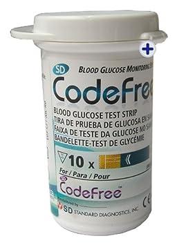 Codefree Kit SD - Medidor de glucosa en sangre, incluye tiras, lancetas y estuche