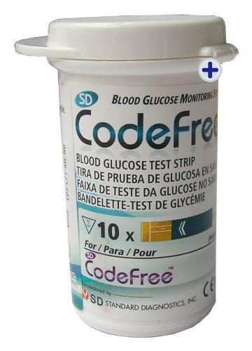 Codefree Kit SD - Medidor de glucosa en sangre, incluye tiras, lancetas y estuche 7