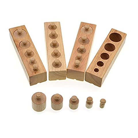 Teaching aids, Preschool educational toys, Small cylindrical socket,Wooden toy, Joggles Solids-Family Set-Set of 4 Mini Cylinders, iParaAilury