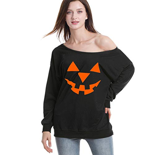 Rysly Womens Sexy Halloween Pumpkin Sweatshirts Pullover Costumes Plus Size L Black -