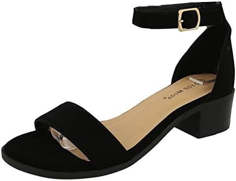 Top Moda Women's Ankle Strap Open Toe Heeled Sandal