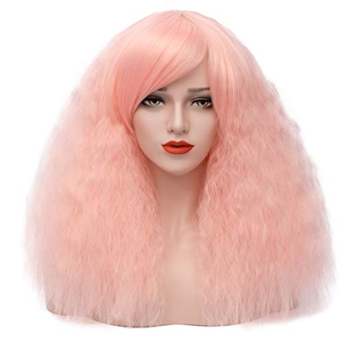 ELIM Short Fluffy Curly Wigs Pink Cosplay Wigs Wavy Halloween Costume Wig Synthetic Hair Oblique Bangs for Women with Wig Cap Z079I,Light -