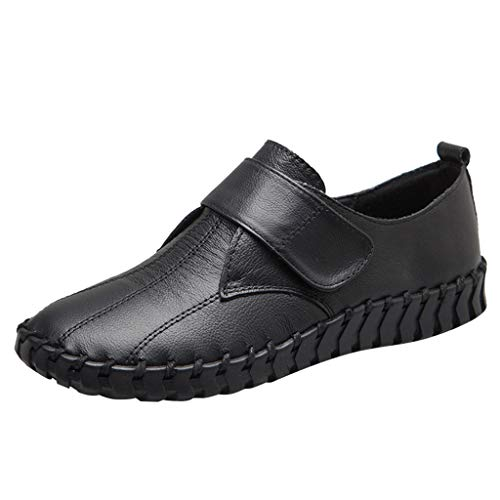 LONGDAY❤Women Loafers Shoes Soft Retro Flats Round Toe Anti Skid Platform Leather Moccasins Wild Driving Casual Oxfords Black