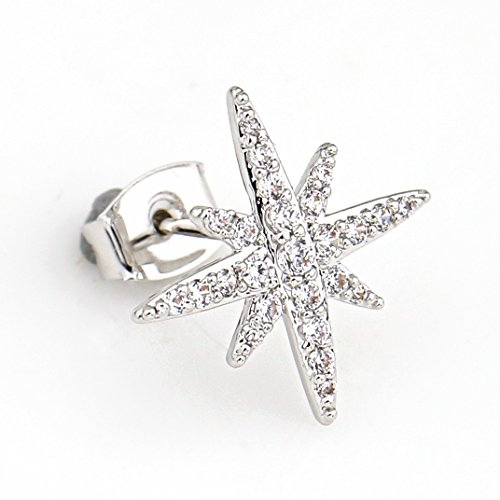 United Elegance - Delicate Silver Tone Designer Earrings with Embedded Swarovski Style Crystals (Silver Star) from United Elegance