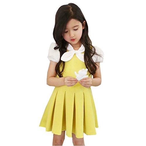 Waboats Kids Girls' Short Sleeve Bowknot 3-7 Years Party Dress 4T Yellow