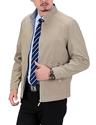 Silk Casual Jacket (Yeokou Men's Bussiness Casual Stand Collar Zip Up Windbreaker Jacket Coat)