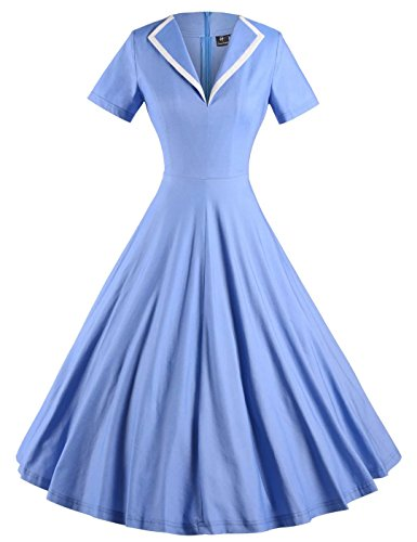 GownTown-Womens-1950s-Retro-Vintage-V-neck-Party-Swing-Dress