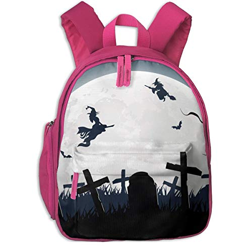 Halloween Witch Broom Silhouette Cemetery Lawn Children School Bag Book Backpack Outdoor Travel Pocket Double Zipper