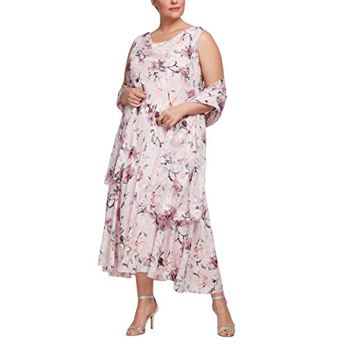 Alex Evenings Women's Plus Size Tea Length Printed Chiffon Dress with Shawl, Blush Multi, 16W