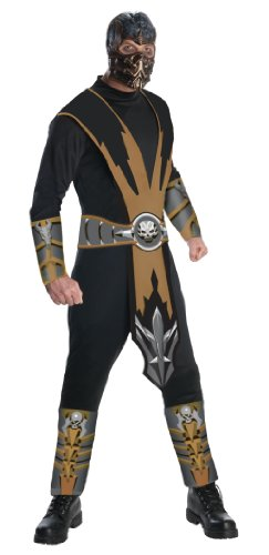 Mortal Kombat Adult Scorpion Costume And Mask, Gold/Black, Medium