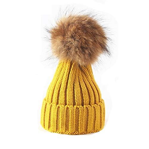 - xsby Baby Crochet Caps, Winter Knitting Warm Hat Daily Slouchy Hats Beanie Skull Cap Yellow 40-48cm
