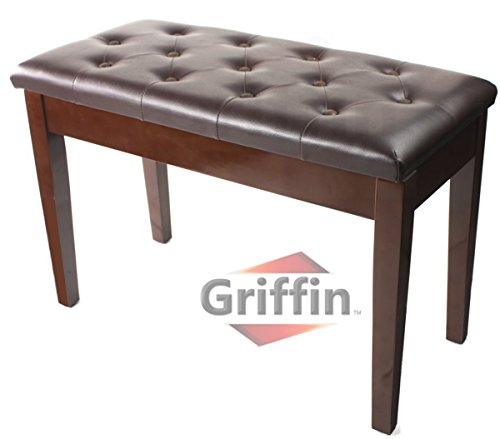 Griffin Double Brown Leather Piano Bench - Vintage Design, Heavy-Duty & Ergonomic Keyboard Stool, Comfortable Double Duet Seat & Convenient Hidden Storage Space, Perfect For Home & Professional Use