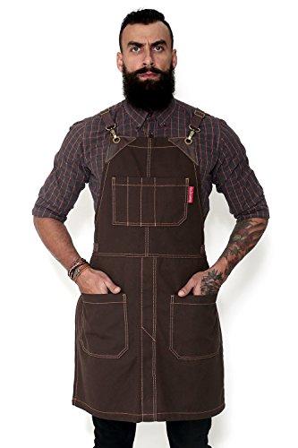 Under NY Sky Cross-Back Coffee Brown Apron - Durable Heavy-Duty Canvas, Leather Reinforcement, Split-Leg - Adjustable for Men, Women - Pro Carpenter, Blacksmith, Mechanic, Tattoo, BBQ, Pottery Aprons ()