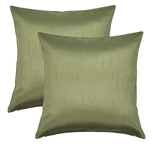 Aiking Home 18x18 Inches Faux Silk Square Throw Pillow Cover, Zipper Closure, Sage (Set of 2)
