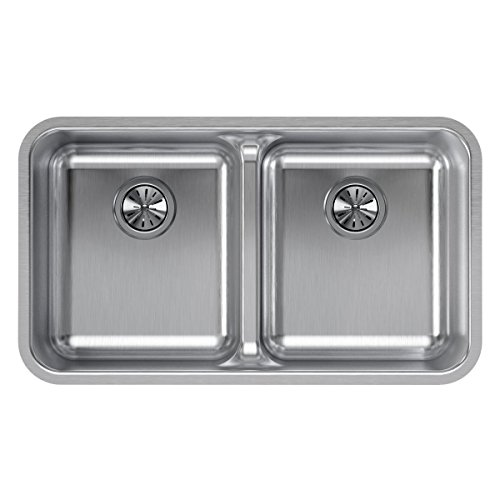 Elkay Lustertone ELUHAQD3218 Equal Double Bowl Undermount Stainless Steel ADA Kitchen Sink with Aqua Divide - Lustertone Rectangular Undermount Sink