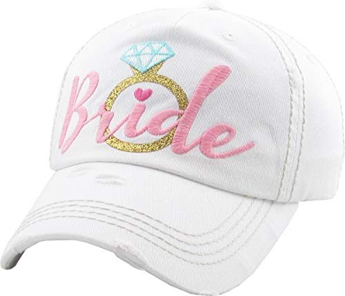 (BH-202-BRING0929 Distressed Bridal Basebal Cap - Bride w/Ring - White w/Pink)