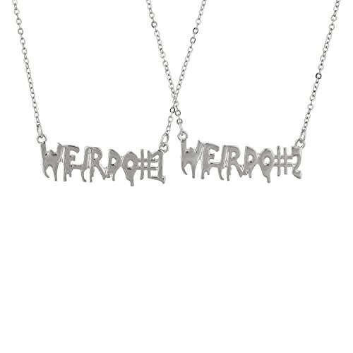 Lux Accessories SilverTone Weirdo 1 2 BFF Best Friends Forever Necklace Set 2PC ()