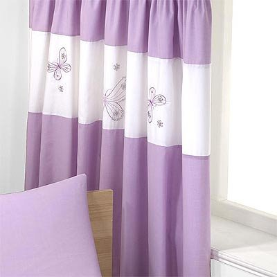 Butterflies Pencil Pleat Curtains Lilac 66 X 72 Inch