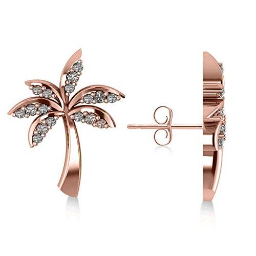 Allurez Diamond Palm Tree Summer Island Earrings in 14k Rose Gold (0.20ct) by Allurez