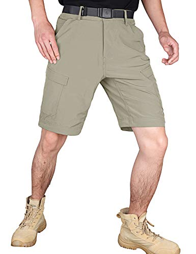 HARD LAND Men's Cargo Shorts Elastic Waist Lightweight Quick Dry Stretch Hiking Tactical Shorts Khaki Size 36W