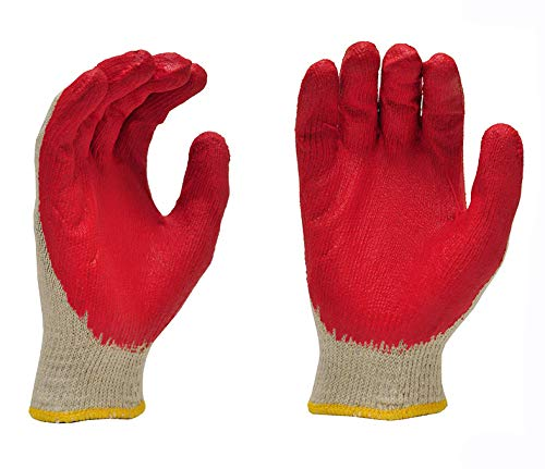 PREMIUM Non-Slip Red Latex Rubber Palm Coated Work Safety Gloves Garden Gloves - MADE IN KOREA (10 -