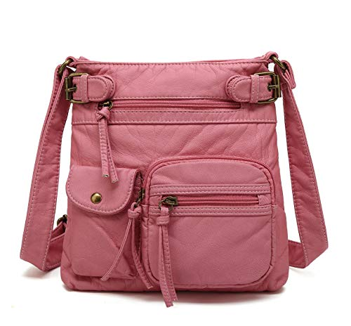 (Scarleton Small Multi Pocket Crossbody Bag for Women, Ultra Soft Washed Vegan Leather Shoulder Purse, Pink,)