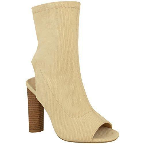 Botines De Mujer De Punto Elástico Celebrity Tacón En Bloque Zapatos Peep Toe Talla Claro Color Carne Punto